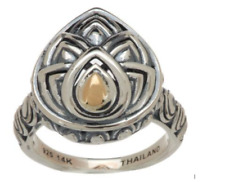 NEW Angela by John Hardy Sterling & 14K Pear Shaped Siam Ring Size 7