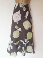 LOVELY LAURA ASHLEY 100% LINEN SKIRT IN VGC! SZ 8, BROWN, GREEN, FLORAL