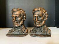 Antique Bronze Wash Cast Metal Abraham Lincoln Bookends