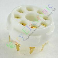 5pc PCB Gilded 8pin Ceramic vacuum tube socket top mount gold octal valve base