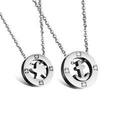 2 Edelstahl Anhänger Halsketten Partner Freundschaft Ketten Stern Anchor Silber