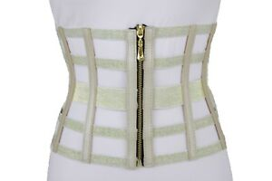 Women Slimming Champagne Gold Wide Elastic Waistband Corset Fashion Hot Belt S M
