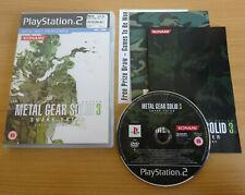 Metal Gear Solid 3 ps2 Playstation 2 Spiel VGC Komplett mit Anleitung Kostenlos Post