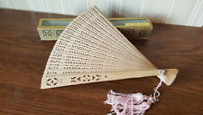 Vintage Chinese Hand Fan Wooden Bamboo with original box Pink Tassel