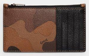COACH 'Camo Print' Men's Coated Canvas & Leather Zip Card Case Saddle/Black NWT!