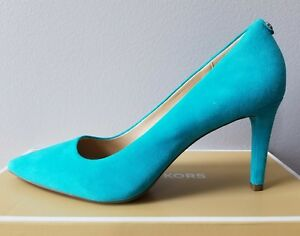 Michael KORS FLEX DOROTHY MID HEEL CLASSIC TILE BLUE POINTY PUMPS 9 I LOVE SHOES