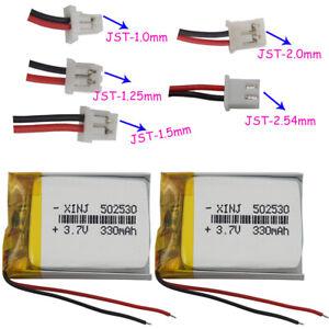 2pcs 3.7v 330mah polymer Lipo battery 2pin JST-PH 1.0/1.25/1.5/2.0/2.54mm 502530