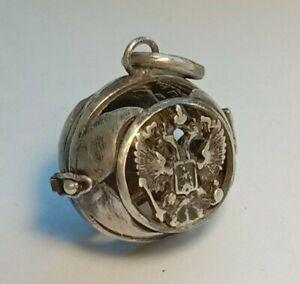 Rare Antique Box Pendant Silver 84 Imperial Russia Angel
