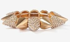 Gold Silver Painted Metal Rhinestone Studded Pyramid Spike Stretch Bracelet Cuff