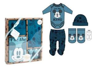 Disney Mickey Mouse Baby Newborn Bodysuit Leggings Hat & Socks Set
