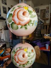 1920s Double Globe Lamp With Chimney Blush Pink With Flowers. Works.