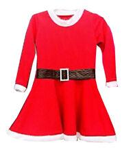 Rojo De Ni��as ELFO Papá Noel Navidad Vestido Skater Con une Cinturón 2-13 AÑOS