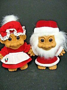 "Vintage Mr & Mrs Santa Clause 8"" Russ Christmas Troll Dolls"