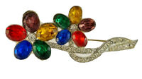 Vintage Brooch Pin Jewel Tone & Clear Rhinestone Flower with Silver Tone Backing