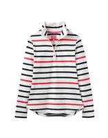 Joules Ladies Fairdale Half Zip Long Sleeve Sweatshirt in Navy Raspberry