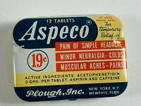 Vintage Aspeco EMPTY TIN Asprin medicine Medical Plough Memphis TN