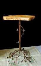 Wood Slab Accent Novelty Table with Metal Root Design Stand