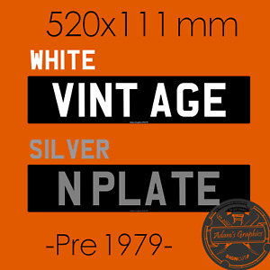 Stick On Number Plate Numberplate Classic sticker Vintage Black Silver White