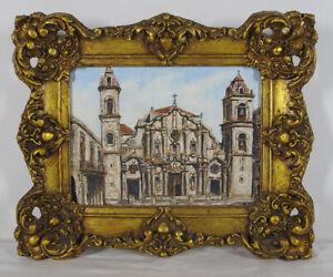 ORIG Edin Gutierrez Oil Painting Havana Cathedral Catedral de San Cristobal yqz
