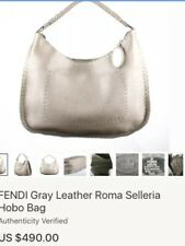 16b448448b1b FENDI GRAY Leather Roma Selleria LOGO STITCHED HOBO BAG
