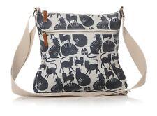 Stone Navy Blue Cats Cross Body Saddle Messenger Bag by Lisa Buckridge Gift tag