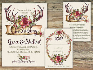 PERSONALISED RUSTIC MULBERRY FLORAL & FRUIT ANTLER WEDDING INVITATIONS PACKSOF10