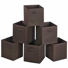 6 PCS Brown Home Storage Bins Organizer Fabric Cube Box Basket Drawer Container