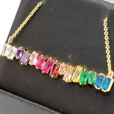 """Unique Baguette Sapphire Necklace Women Jewelry Gift 18"""" Chain Gold Plated"""