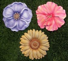 """Garden Path Stepping Stone Wall Plaque Floral Petals Set of 3 New 7 1/2"""""""