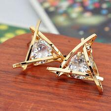 New Fashion Women Lady Gold Silver Triangle Crystal Rhinestone Ear Stud Earrings