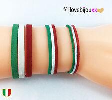 Bracciale ITALIA corda o perle elastico TRICOLORE calcio braccialetto Uomo Donna