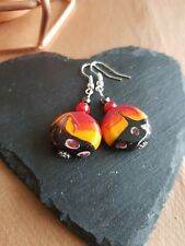 Lampwork drop dangle, silver plated earrings, red 20mm assorted beads (442)