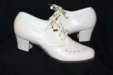 Vtg 70s McBrydes Detroit Heel Granny Boho Leather Tie Tan Oxford Shoe Women 6M