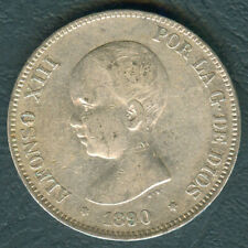 1890 Spain ALFONSO XIII 5 pesetas Crown Size Silver Coin #4