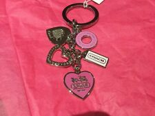NWT Coach Girlie Mix Pink/Sil. Pave Heart Charms KeyChain/Ring/Fob/Charm #92339
