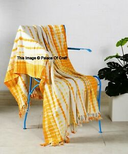 Indian Hand Block Cotton Tie Dyed Blanket Throw Home Decor Sofa Couch Throw