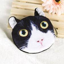 Cute 3D Black Big Eye Cat Face Zipper Case Coin Purse Wallet Women Makeup Bag