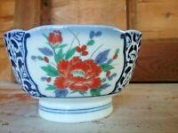 Pottery Signed rice bowl  Designed by M C O Japan Blue & White orange Bloom.