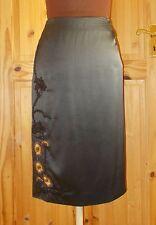 NICOLE FARHI black SILK brown floral embroidered knee midi pencil skirt 8 34