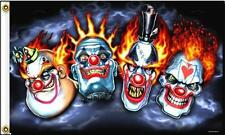 DELUXE FOUR CLOWNS FLAG fl528 scary clowns 3x5 circus flames new item