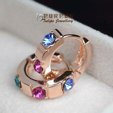 18CT Rose Gold Plated 3 Colour Hoop Huggie Earrings Made With Swarovski Crystal