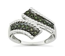 Sterling Silver Green Diamond Ring Band .925 Bypass Band .15ct Size 7