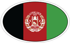 AFGHANISTAN FLAG IN AN OVAL VINYL STICKER - Asia / Flag 16cm x 9cm