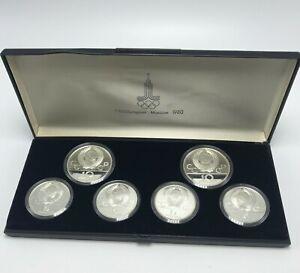 6 SILVER COINS - XXII OLYMPIAD MOSCOW 1980