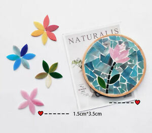 Colorful Leaf Stained Glass Mosaic Tiles For Crafts Hand Supplies Art 20pcs