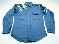 Five Brother S Blue Flannel Lizard Gecco Long Sleeve Cotton Men's Shirt Small