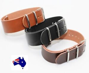 Leather NATO Military Work Watch Style Watch Band Strap Black Brown Tan