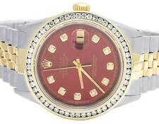 Mens Rolex 18K/ Steel Two Tone Datejust Oyster 36MM Red Dial Diamond Watch 2 Ct