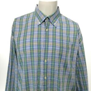 PETER MILLAR Men's Long Sleeve Blue Gray Green Plaid Button Up Shirt Size XL EUC