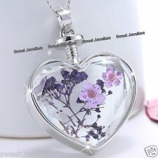 Valentines Gifts For Her - Purple Flower & Silver Heart Necklace Love Women Wife